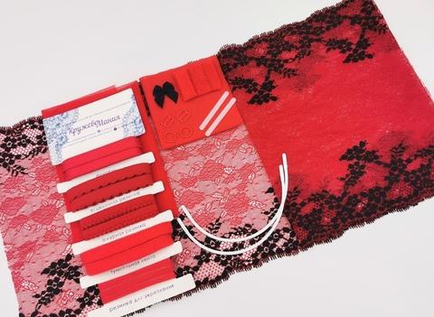 Набор 2. Для бюстгальтера с мягкой чашкой на косточках и трусиков. Красный и черный (Арт: EK-1014),