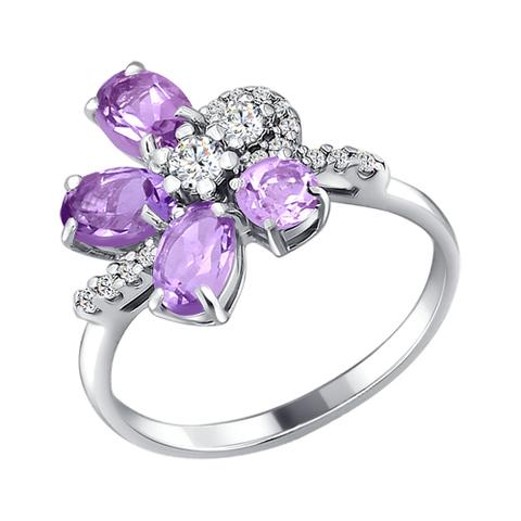 Кольцо из серебра с аметистами и фианитами