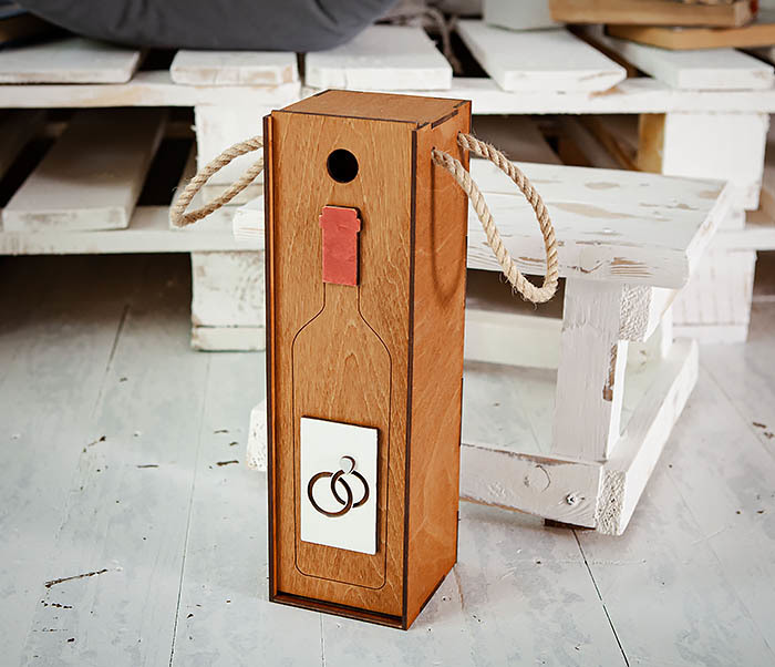 BOX260-2 Коробка для винной церемонии на свадьбу (33*10*10,5 см) фото 05