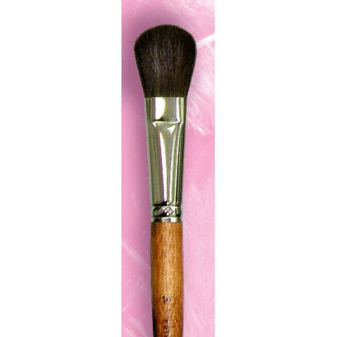 Овальная кисть для румян из пони №14 с ручкой махагон
