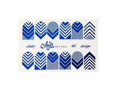 Фольга для дизайна ногтей цвет синий 40