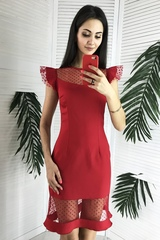 Лола. Оригінальна молодіжна коктейльна сукня. Червоний