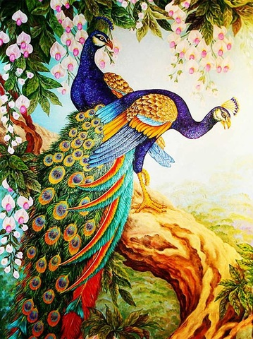 Алмазная Мозаика + Багет 40x50 Павлины на дереве