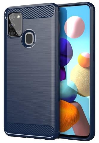 Чехол в стиле карбон на Samsung Galaxy A21S, темно-синий цвет, серия Carbon от Caseport