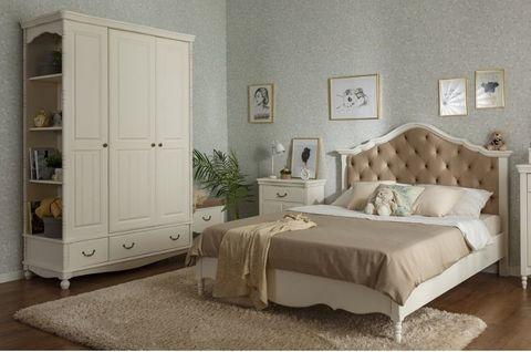 Спальня Айно 18 с мягким изголовьем (скандик белый)