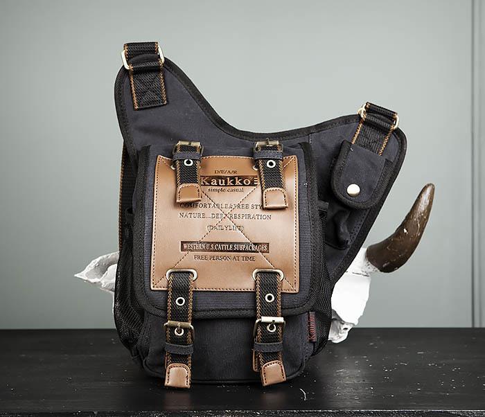 BAG307-1 Мужская сумка черного цвета из текстиля отличного качества