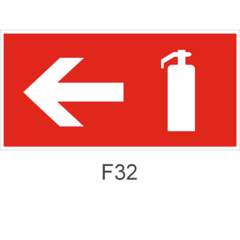 Знак пожарной безопасности F32 Указатель движения к огнетушителю налево