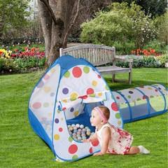 Палатка+туннель+бассейн, 3 в 1, Синий