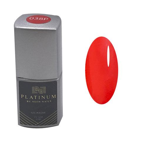 Неоновый красный гель-лак PLATINUM огненный красный