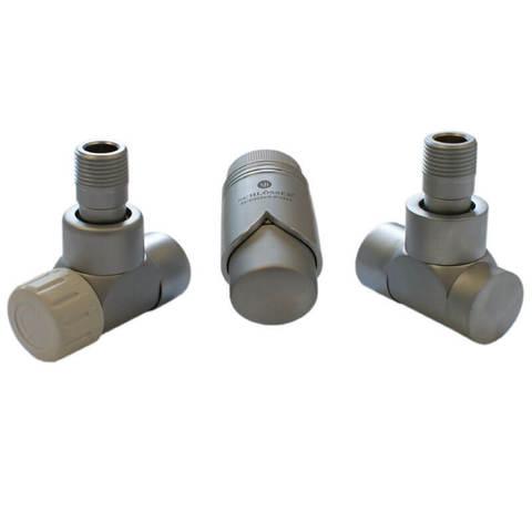 Комплект Lux термостатический Сатин Форма осевая, правый. Для меди GZ 1/2 x 15x1