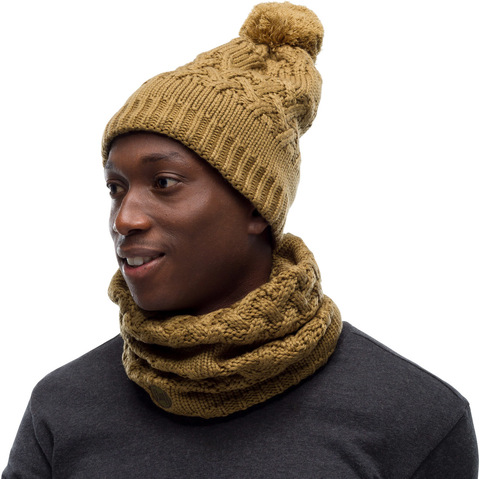 Комплект шапка шарф вязаный с флисом Buff Savva Bark фото 1