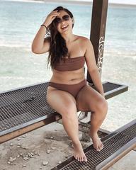 купальник бандо кофейный коричневый на шнуровке Rosy Finch 1