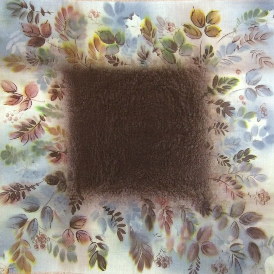 Шерстяной платок батик Листья С-74-sh