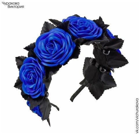 Ободок для волос 7 мм (цвет - никель) (Ободок с синими цветами. Пример)