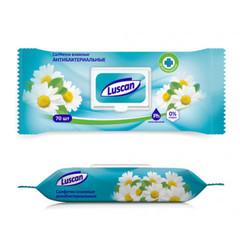 Влажные салфетки антибактериальные Luscan 70 штук в упаковке