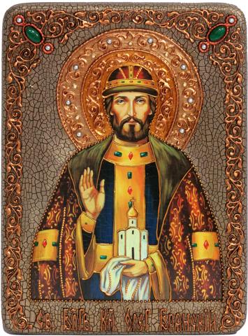 Инкрустированная Икона Святой благоверный князь Олег Брянский 29х21см на натуральном дереве, в подарочной коробке