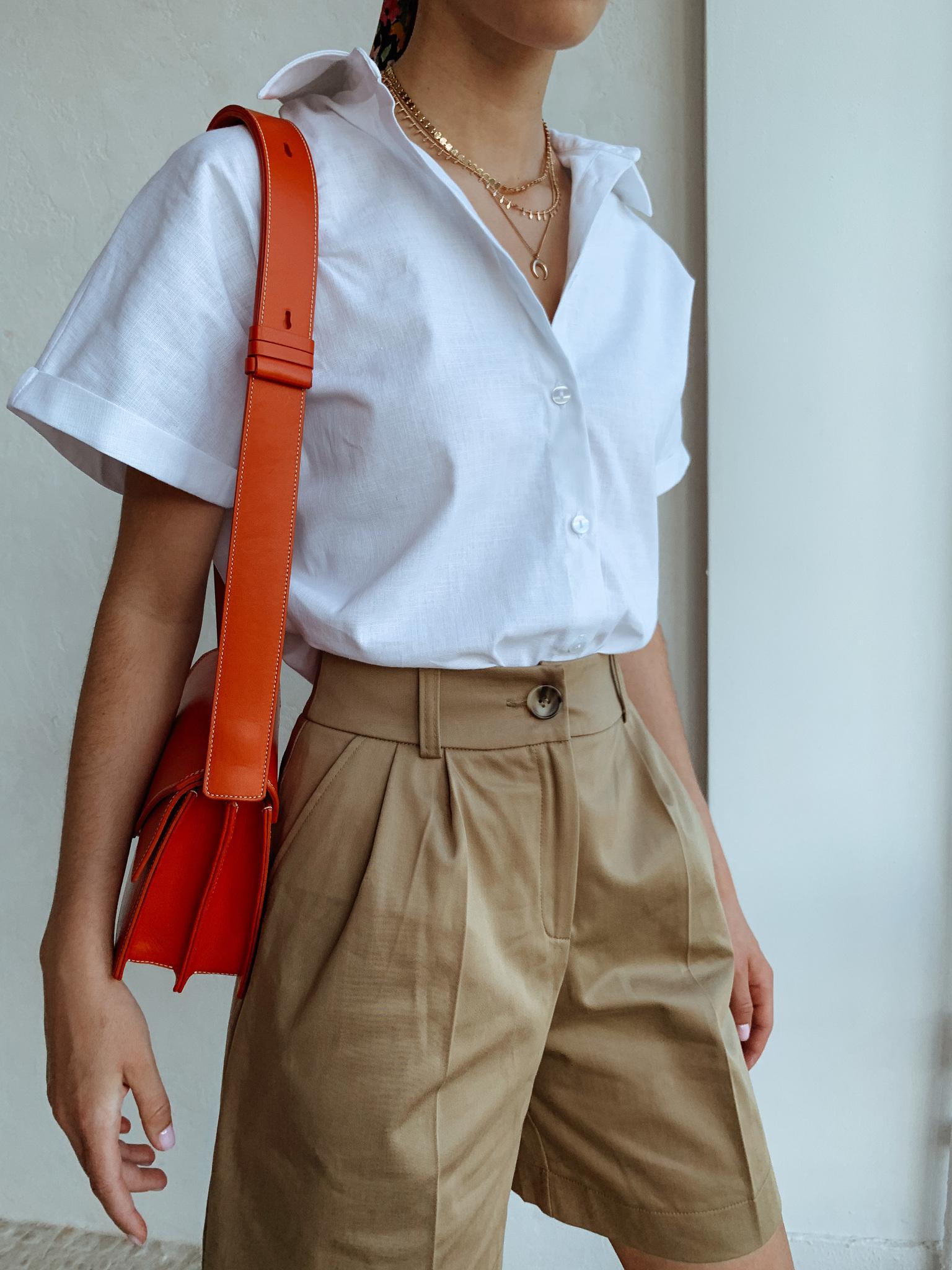 Рубашка свободного кроя с коротким рукавом (лен) (one size) (белый)