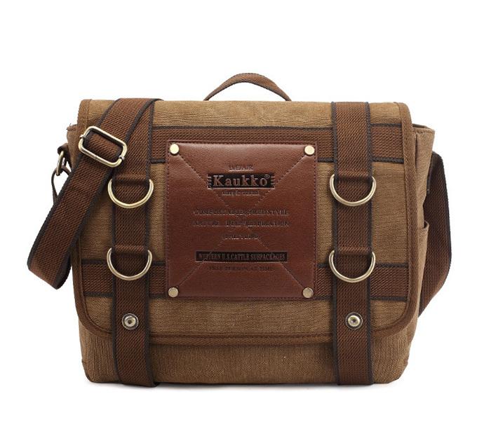 BAG390-2 Удобный мужской портфель из ткани цвета хаки с ремнем на плечо (вмещает А4) фото 02
