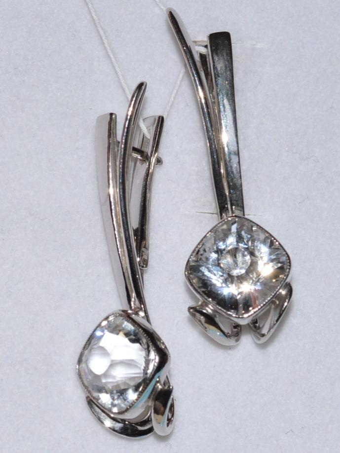 Горный хрусталь 640  (серьги из серебра)