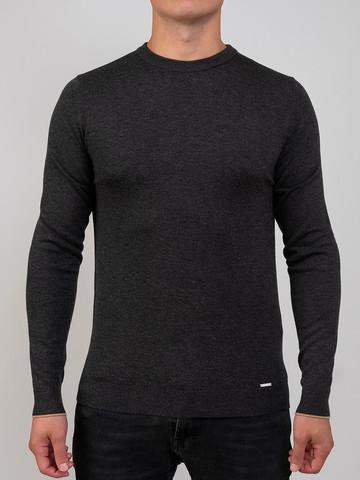 Мужской джемпер темно-серого цвета из шерсти и шелка - фото 2