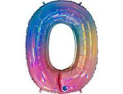 Г Цифра, 0, Радуга переливы, 40''/102 см, 1 шт.