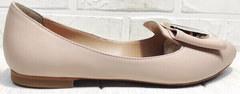 Кожаные балетки лодочки туфли бежевые Wollen G192-878-322 Light Pink.