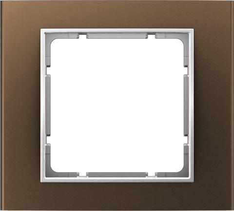 Рамка на 1 пост алюминий. Цвет Коричневый/полярная белизна. Berker (Беркер). B.3. 10113021