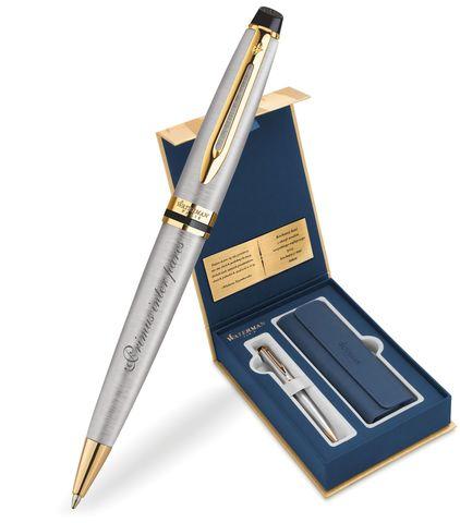 Набор с гравировкой: Чехол и Шариковая ручка Waterman Expert Essential, St. Steel GT123