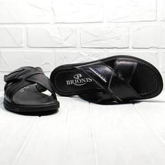 Сандалии шлепки мужские кожаные Brionis 155LB-7286 Leather Black.