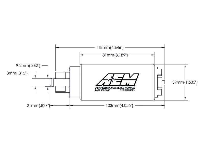 Размеры бензонасоса AEM 50-1000