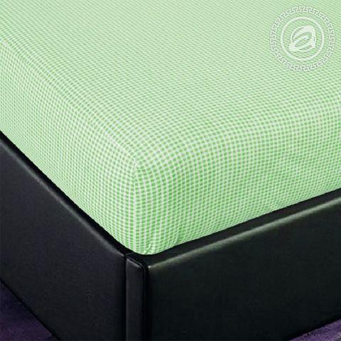 Простынь на резинке Клетка (зеленый)
