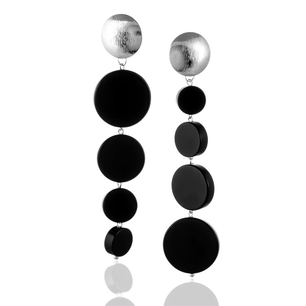 Серьги асимметричные из агата