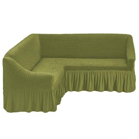 Чехол на угловой диван, олива
