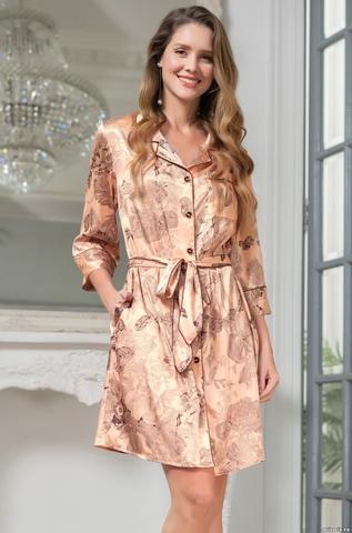 Женский шелковый халат на пуговицах  Mia-Amore  LETUAL Летуаль 3437 роза