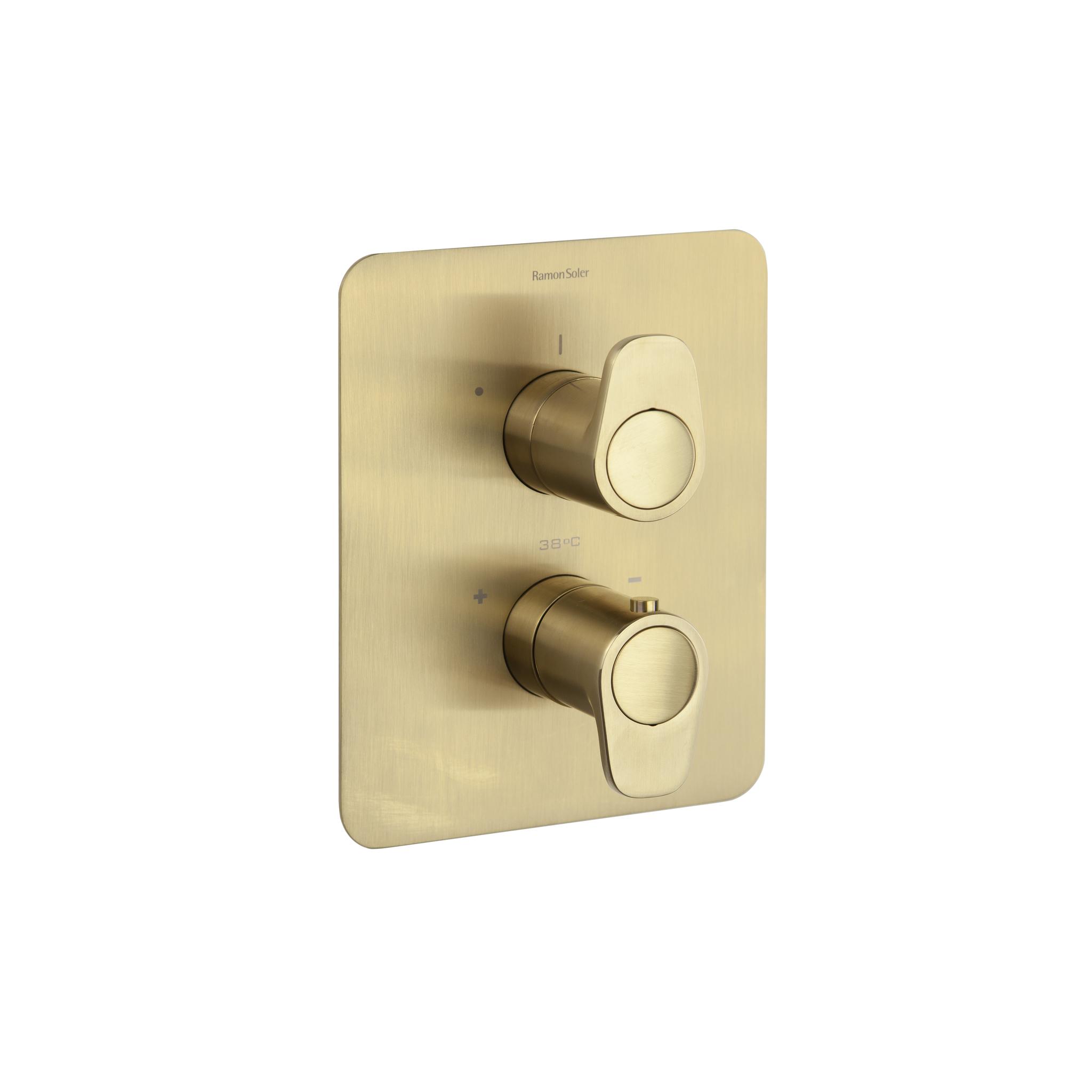 Встраиваемый термостатический смеситель для душа ALEXIA 368712SOC золотой, на 2 выхода