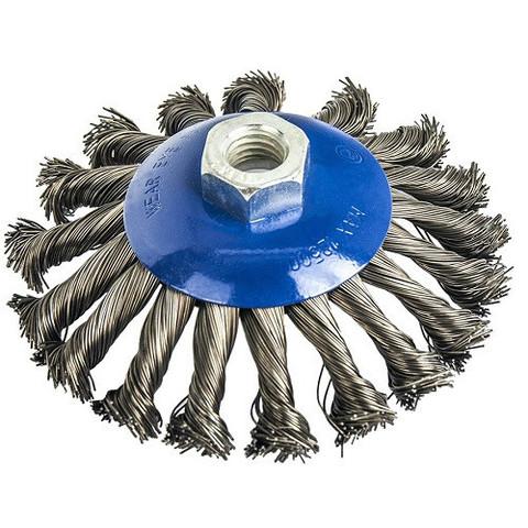 Кордщетка для МШУ радиальная с наклоном витая ПРАКТИКА 115 мм М14 (1шт.) блистер (773-347)