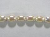 Бусина из жемчуга пресноводного культивированного белого, класс А, фигурная, овал гладкий 7-8мм (рис)