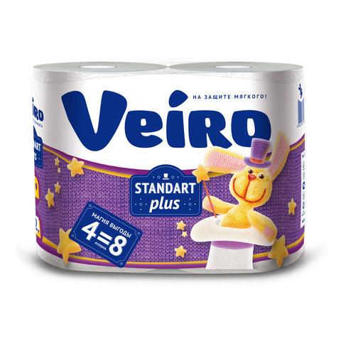 Бумага туалетная Veiro Standаrt Plus 2-слойная белая (4 рулона в упаковке)