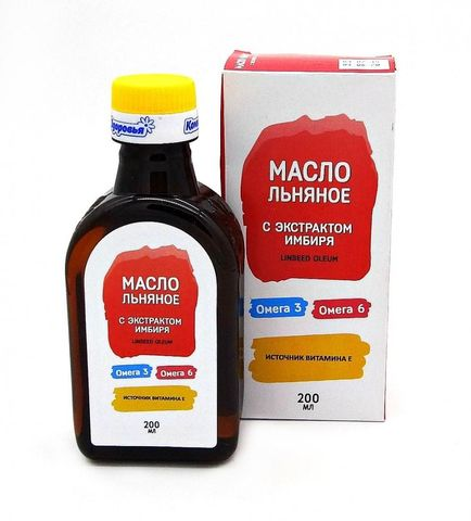 Масло льняное с экстрактом имбиря, 200 мл (Компас Здоровья)