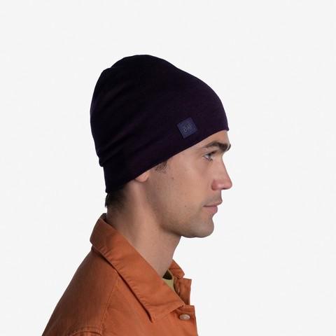 Теплая шерстяная шапка Buff Hat Wool Heavyweight Deep Purple фото 2