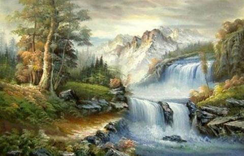 Алмазная Мозаика 40x50 Многоуровневый водопад в горах