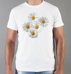 Футболка с принтом Цветы (Ромашки) белая 004