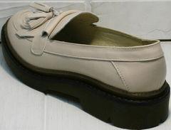 Бежевые лоферы туфли женские осенние Markos S-6 Light Beige.