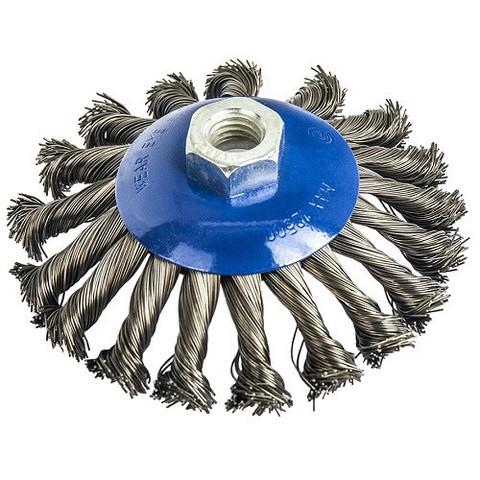 Кордщетка для МШУ радиальная с наклоном витая ПРАКТИКА 125 мм М14 (1шт.) блистер (032-508)
