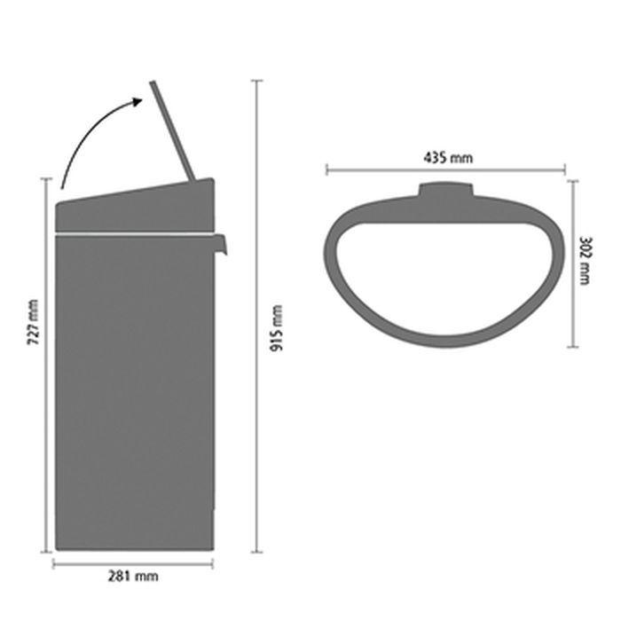 Мусорный бак Touch Bin New (40 л), Платиновый/крышка стальная матовая, арт. 114885 - фото 1