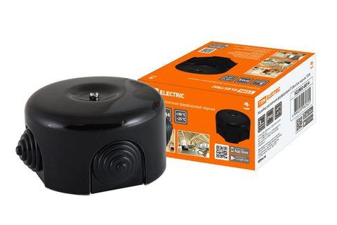 Коробка распаячная фарфоровая D7,8х4,5см черная TDM