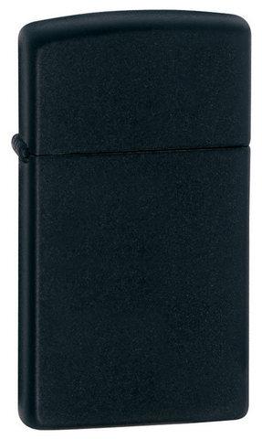 Зажигалка Zippo Slim Black Matte, латунь/сталь, чёрная, матовая, 30x10x55 мм123