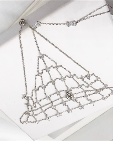 21879- Роскошный слейв-браслет кольцо с сеткой на запястье из серебра с цирконами