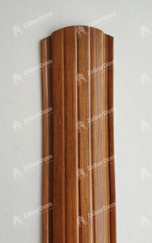 Евроштакетник металлический 110 мм Орех полукруглый 0.5 мм