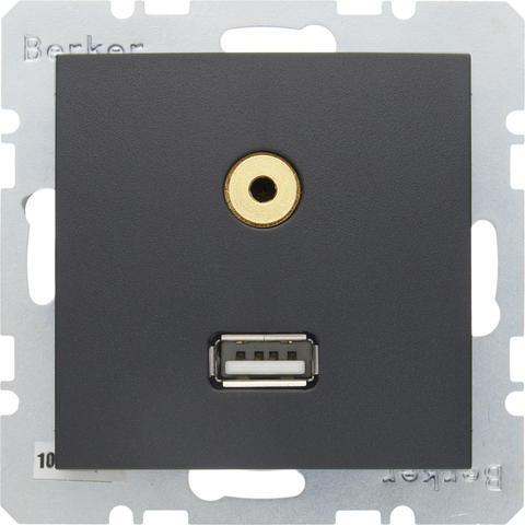 Розетка USB/3.5mm AUDIO. Цвет Антрацит. Berker (Беркер). S.1 / B.3 / B.7. 3315391606
